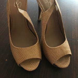 Jessica Simpson faux snakeskin platform heels 10